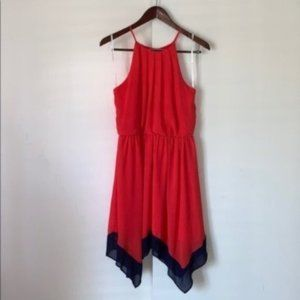 iZ Byer Coral Navy High Neck Napkin Hem Dress L
